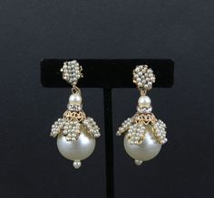Unsigned Miriam Haskell Gold Filigree Dangly Earrings Tiny Pearls Rhinestones   eBay