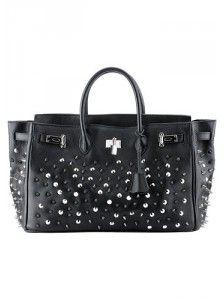 Bglamour Leather Studded Bag Black