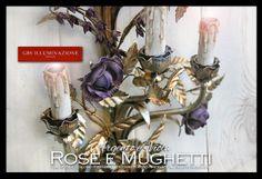 Applique in ferro battuto con rose e Mughetti. Argento foglia e smalto anticato. Rose viola.