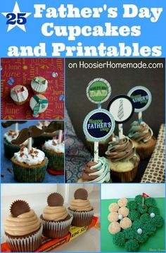 25 Fathers Day Cupcakes and Printables :: on HoosierHomemade.com