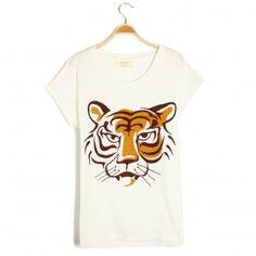 Printed Tiger Short Sleeves Round T-shirt