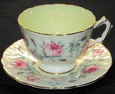 AYNSLEY ENGLAND PINK MOSS ROSE GREEN TEXTURE TEA CUP AND SAUCER