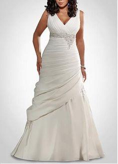 Glamoroso vestido de novias para gorditas corte sirena de seda con escote en V con apliques de perlas y puntilla