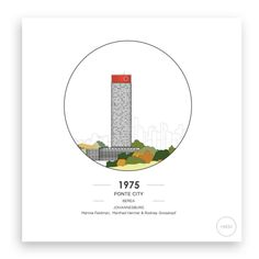 Ponte City | Berea | Johannesburg, South Africa | 1975 | Mannie Feldman, Manfred Hermer & Rodney Grosskopf | Architectural Print | CityNESS Architectural Prints, Bauhaus, South Africa, Architecture, City, Arquitetura, Architecture Illustrations, City Drawing, Cities