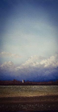"Rainclouds towards Hevingham Church - detail of oil on canvas. 20"" X 16"" by Nial Adams.  See full portfolio at www.BigNorfolkSkies.co.uk"