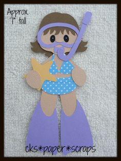 Snorkeling Girl Kid Scrapbook Paper Piecing