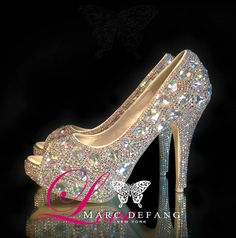AB Crystals Iridescent snow diamond luxury platform peep by MDNY, $249.00