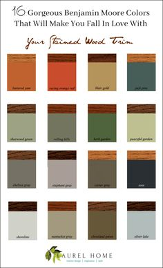 The Stained Wood Trim Stays – 16 Wall Colors To Make It Sing 16 Gorgeous Benjamin Moore Colors that will make you fall in love with your stained wood trim Trim Paint Color, Best Paint Colors, Bedroom Paint Colors, Interior Wall Colors, Interior Design, Cabin Paint Colors, Best Wall Colors, Interior Office, Paint Colours