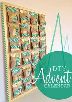Tutorial for a unique Advent calendar. Make your very own Advent calendar using kraft paper bags and washi tape. Can be assembled as a garland or board.
