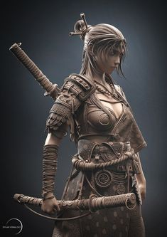 Samurai, Dnd Characters, Fantasy Characters, Greek Warrior, Warrior Women, Human Sculpture, 3d Figures, Female Knight, Cyberpunk Art