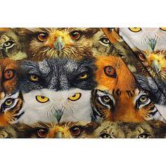 Tricot stof Animal Eyes, Digitaal print