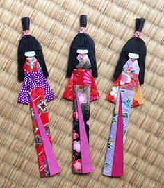 3 Japanese Handmade Origami Paper Doll Bookmarks set (random colors).