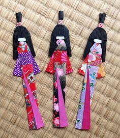 3 Japanese Handmade Origami Paper Doll Bookmarks set (random colors).