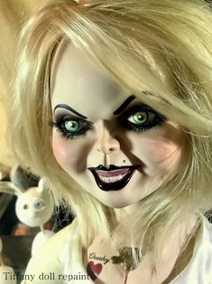 RESERVED for Sam Custom made to order Tiffany Bride of Chucky doll repaint service Bride Of Chucky Makeup, Bride Of Chucky Doll, Tiffany Bride Of Chucky, Bride Makeup, Halloween Costumes For 3, Halloween Horror, Halloween Face Makeup, Halloween 2019, Halloween Ideas