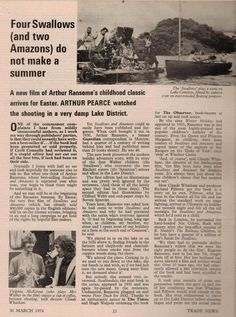An article on making the movie of Arthur Ransome's 'Swallows and Amazons' featured in 'Smith's Trade News' 1974 with a photograph of Virginia McKenna eating a banana while relaxing on set.