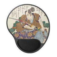 Classic Vintage Japanese Samurai Warrior General Gel Mouse Mats #Classic #Vintage #Japanese #Samurai #Warrior #Ronin #oriental #customizable #gifts and #accessories #Japan #kenshi #bushi #katana
