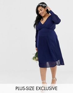 5ca333b88 Page 12 - Plus Size Clothing | Plus Size Women's Clothing & Fashion | ASOS.  TFNC Plus long sleeve midi bridesmaid dress with pleated skirt ...