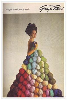 Love this ad for yarn!!! Publicité pour les laines Georges Picaud (1965)