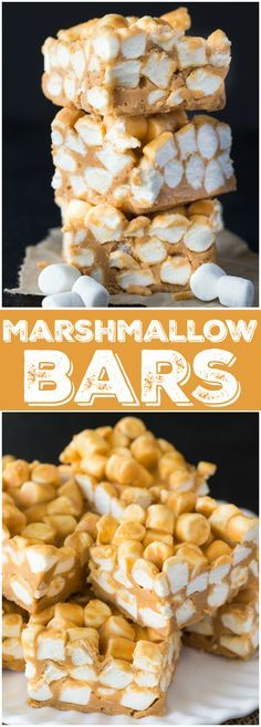 Marshmallow Bars - S Marshmallow Bars - Smooth creamy and. Marshmallow Bars - S Marshmallow Bars - Smooth creamy and chewy! This easy no-bake dessert has stood the test of time and been passed down for many generations. Easy No Bake Desserts, No Bake Treats, Mini Desserts, Delicious Desserts, Dessert Recipes, Bar Recipes, Holiday Desserts, Healthy Desserts, Recipies