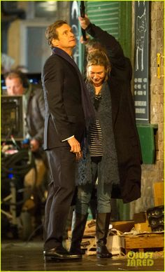 Renee Zellweger & Colin Firth filming scenes on the set of Bridget Jones's Baby in London, England on Tuesday (October 13, 2015)