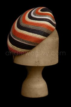 Hat - strip straw beret (Louise Pocock Millinery) #millinery #judithm #hats