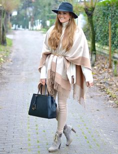 blanket scarf with nude pants and boots