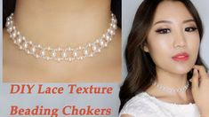 Easy DIY Pearl and Crystal Beading Choker Necklace with Lace Texture / D...
