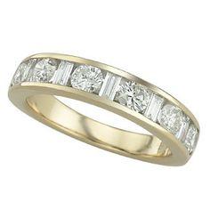 1.25 Carat Baguette Diamond 14K Yellow Gold Anniversary Wedding Band Rings 5.05g: Ring Size: Sizable
