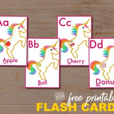 FREE Printable Alphabet Flashcards for Toddlers - Simple Mom Project Unicorn Printables, Free Printables, Printable Templates, Free Preschool, Preschool Crafts, Preschool Alphabet, Alphabet Flash Cards Printable, Flashcards For Toddlers, Halloween Science