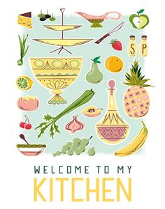 Welcome to My Kitchen 11x14 Print Poster by HappyLittleGarden, $18.00