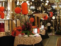 Chinese lanterns add drama and color to this simple buffet. Chinese Lanterns, Event Design, Buffet, Drama, Christmas Tree, Entertaining, Table Decorations, Holiday Decor, Simple