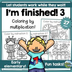 "Color by multiplication: Students work in different paces, and some are eager to share whenever they are finished. Others will at that point have quite a bit of work left to do. The ""I'm finished""-packs are created to occupy the early finishers, and this is the second pack in the series."