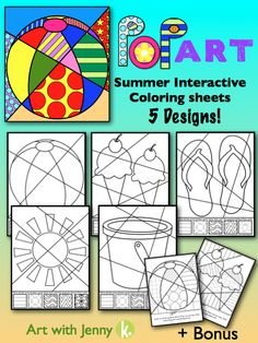 Have some fun gearing up for summer break. Students will get to add patterns and designs to these interactive coloring sheets to create beautiful summer pictures. I've also included 2 bonus sheets that already have the patterns included!