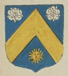 François DREUX, écuier, sieur de Murs. Porte : d'azur, à un chevron d'or, accompagné en chef de deux roses d'argent, et en pointe d'un soleil d'or | N° 14