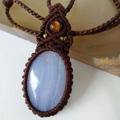 Macrame Necklace Pendant Cabochon Blue Lace Agate Cotton Waxed Cord Handmade #Handmade #Pendant