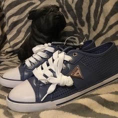 Guess Blue Sneakers Size 8 1/2 , these sneakers in blue are the bomb. Guess takes pretty, comfy and casual and puts the altogether in these great shoes Guess Shoes Sneakers