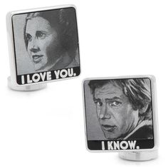 """Star Wars """"I Love You, I Know"""" Silver-Plated Cuff Links, Men's, multicolor"""