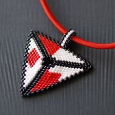 Abstract in Black, White, and Red ... Pendant . Necklace . Peyote Triangle . Classic Colors . Bold . Modern . Handmade. $24.00, via Etsy.