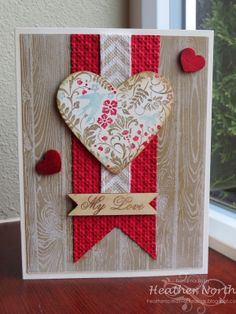 Love the LO on this Valentine's card - uses Hardwood Background stamp