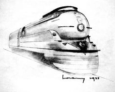 Raymond Loewy train - Makes me think of the John Galt Line. Art Deco Room, Raymond Loewy, Conceptual Drawing, Industrial Design Sketch, Drawing Sketches, Sketching, Old Toys, Locomotive, Watercolor Art