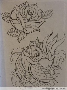 Flower Tattoo Sketches | Rose and swallow pencil drawing sketches - Tattoos and Tattoo Designs