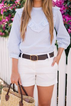 Outfit Details:  Look 1- Express Top & Shorts, Ralph Lauren Belt, Gucci Loafers, Tote  Look 2- Express Dress c/o, Tabitha Simmons ...