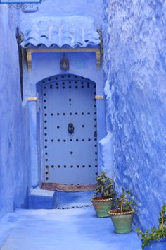 blue door and wall