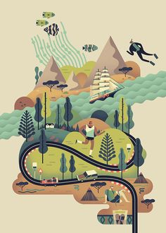 Shop: Owen Davey: Signed Prints at Folio illustration agency Illustration Agency, Illustration Design Graphique, Illustration Inspiration, Travel Illustration, Art Graphique, Digital Illustration, Graphic Illustration, Graphic Design Inspiration, Illustration Styles