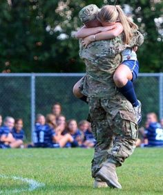 her brother came home during the middle of her soccer game..so nice!
