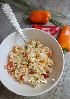 COOKING JULIA : TABOULÉ DE CHOU-FLEUR AUX LÉGUMES Snack Recipes, Healthy Recipes, Cooking Chef, Fried Rice, Entrees, Buffet, Gluten Free, Lunch, Vegan
