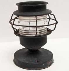 VINTAGE CAGED NAUTICAL RAILROAD RIBBED GLASS METAL LIGHT FIXTURE SALVAGED RECLAIMED