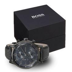 #Hugo #Boss 1512567 Herrenuhr in schwarz mit schwarzem Kroko-Lederarmband