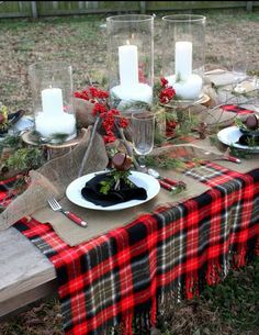 red plaid with candles/berries/evergreens