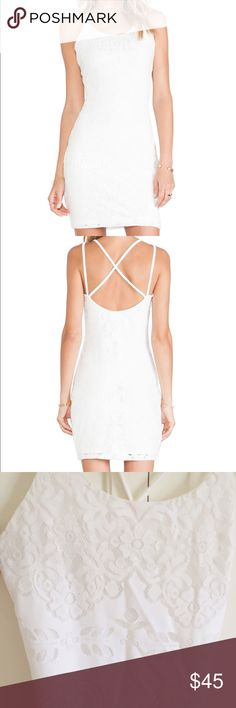 Tularosa NWOT Shadow Slip dress Great sexy silhouette! This white dress has beautiful lace detailing with criss-cross tank straps. Never worn! Tularosa Dresses